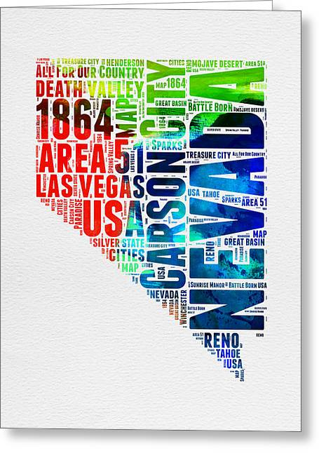 Las Vegas Art Greeting Cards - Nevada Watercolor Word Cloud  Greeting Card by Naxart Studio