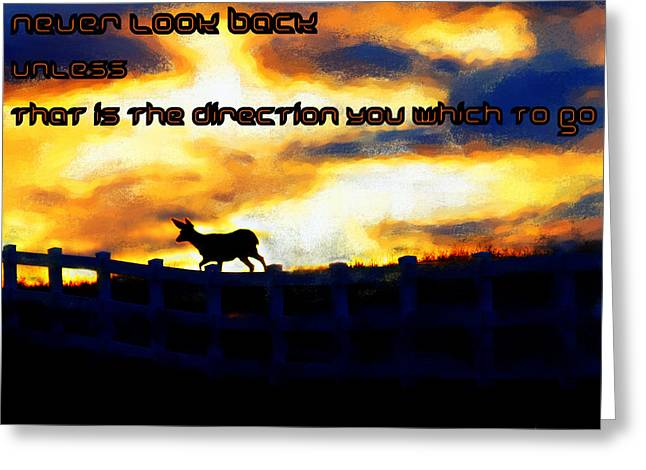 Motivational Poster Greeting Cards - Never Look Back Unless Greeting Card by Irma BACKELANT GALLERIES