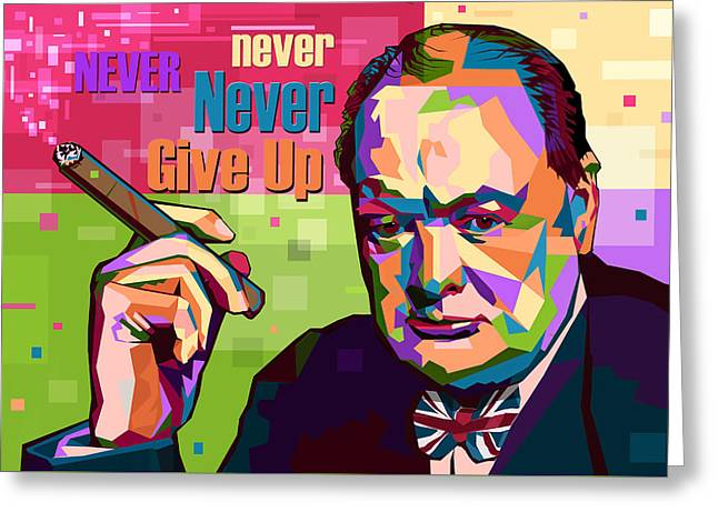 Never Never Never Give Up Greeting Card by Mal Bray