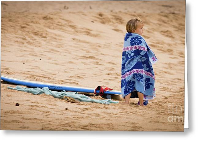 Never Too Young to Surf Greeting Card by Denis Dore