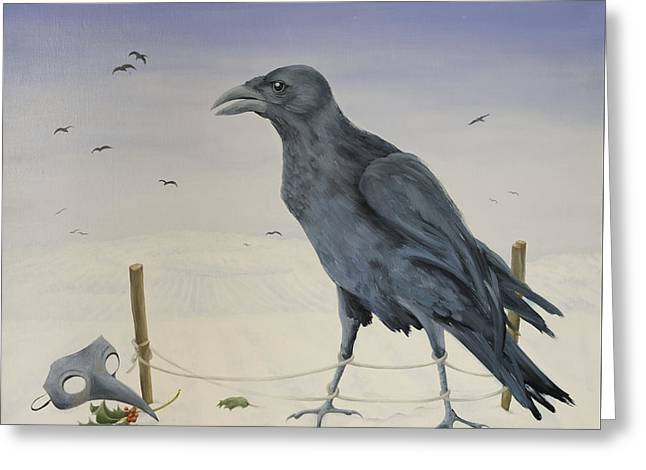 Winter Crows Greeting Cards - Nevermore Greeting Card by Magdolna Ban