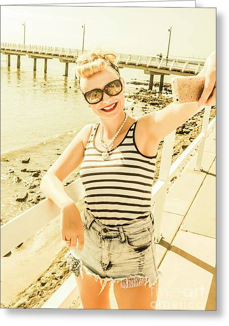 New Age Pin Up Taking Phone Selfie Greeting Card by Jorgo Photography - Wall Art Gallery