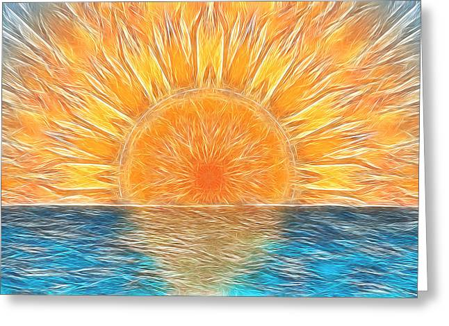New Mind Digital Art Greeting Cards - New Age Sun Greeting Card by Carlos Vieira