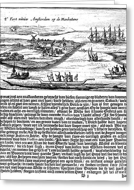 1628 Greeting Cards - NEW AMSTERDAM, 1620s Greeting Card by Granger