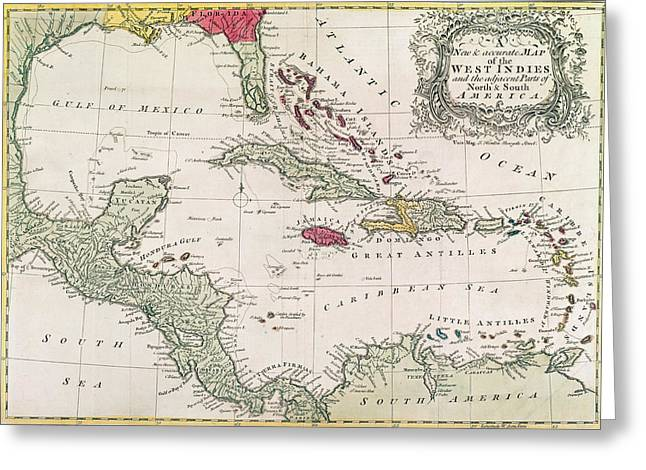 Historic Drawings Greeting Cards - New and accurate map of the West Indies Greeting Card by American School