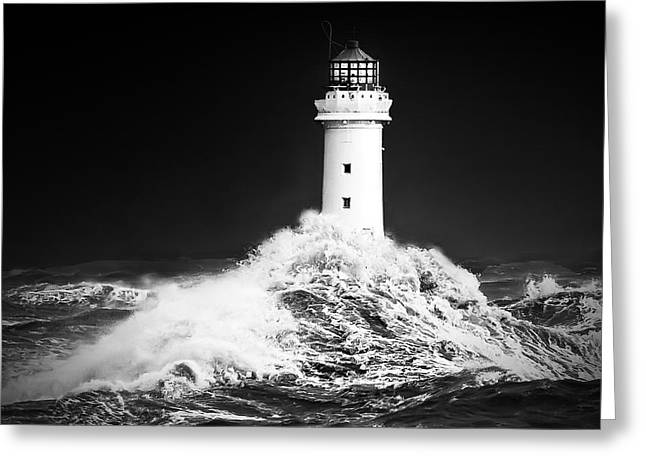 Black And White; High Seas; Danger; Greeting Cards - New Brighton lighthouse_Facing the storm Greeting Card by Rob Lester Wirral