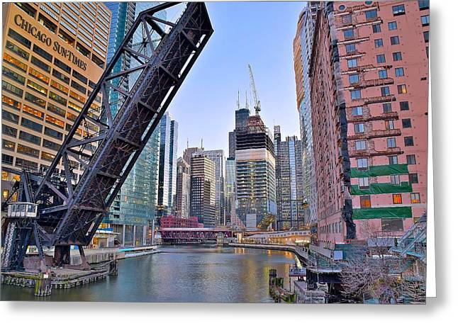 New Buildings Seen From Kinzie Street Greeting Card by Frozen in Time Fine Art Photography