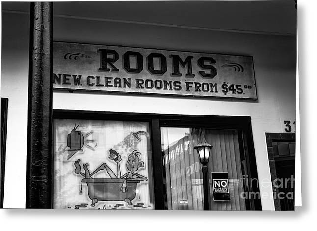 Skid Row Greeting Cards - New Clean Rooms mono Greeting Card by John Rizzuto