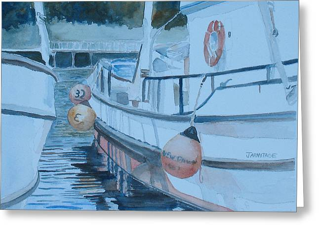 Fishing Boats Greeting Cards - New Dawn in the Late Afternoon Greeting Card by Jenny Armitage