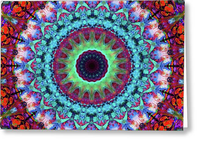 New Dawn Mandala Art - Sharon Cummings Greeting Card by Sharon Cummings