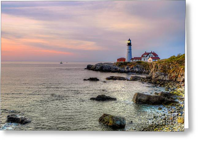 Maine Shore Greeting Cards - New Day at Portland Head Light Greeting Card by Jerry Fornarotto