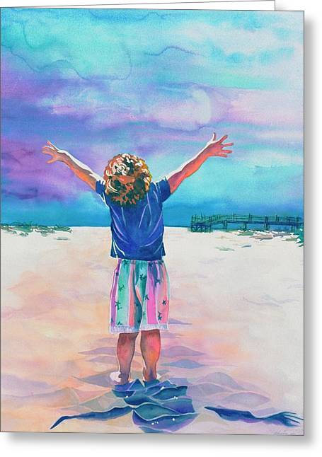 Outstretched Arm Paintings Greeting Cards - New Day Greeting Card by Maureen Dean