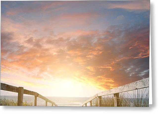 Lighted Pathway Greeting Cards - New day rising Greeting Card by Les Cunliffe