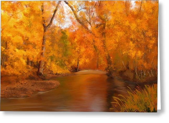 New England Autumn In The Woods Greeting Card by Becky Herrera