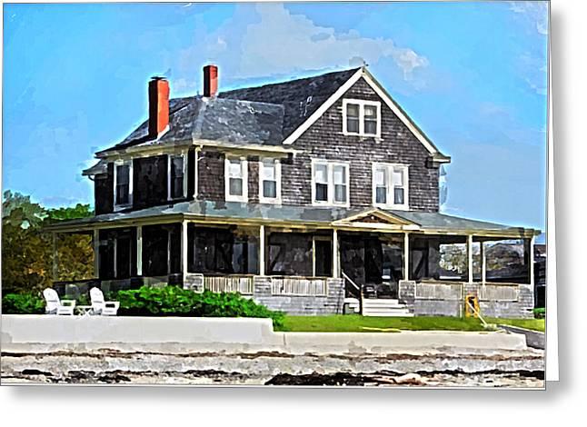 On The Beach Greeting Cards - New England Beach House Greeting Card by Bob Sandler