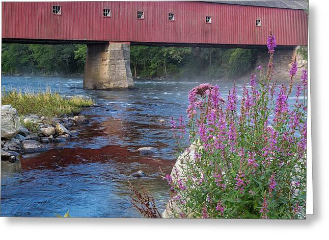 Covered Bridge Greeting Cards - New England Covered Bridge Connecticut Square Greeting Card by Bill Wakeley