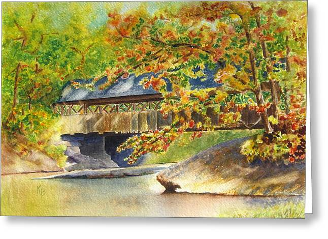New England  Covered Bridge Greeting Card by Karen Fleschler