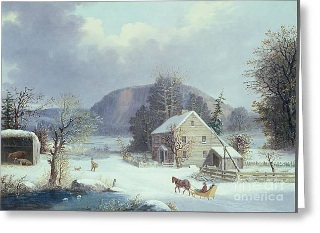 New England Farm By A Winter Road, 1854  Greeting Card by George Durrie