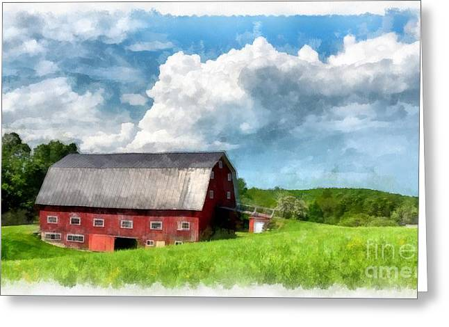 Maine Farms Greeting Cards - New England Farm Landscape Watercolor Greeting Card by Edward Fielding