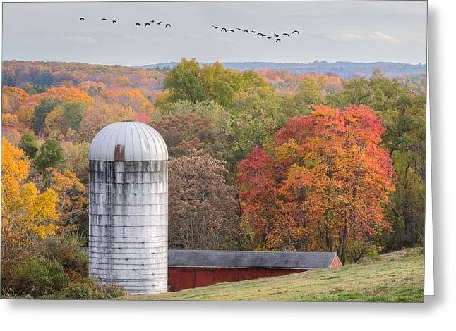 Country Greeting Cards - New England Fly Over Square Greeting Card by Bill Wakeley