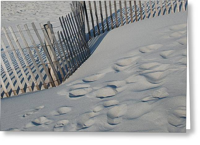Sand Fences Greeting Cards - New England footprints Greeting Card by Gene Sizemore