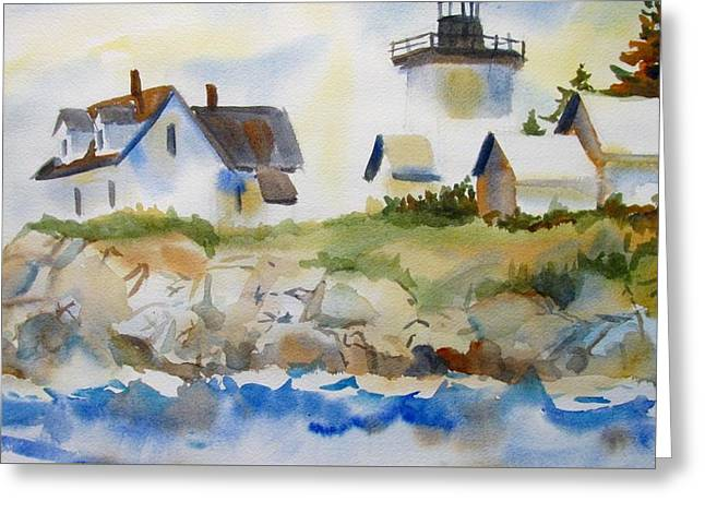 Seacape Greeting Cards - New England Light house Greeting Card by Linda Emerson
