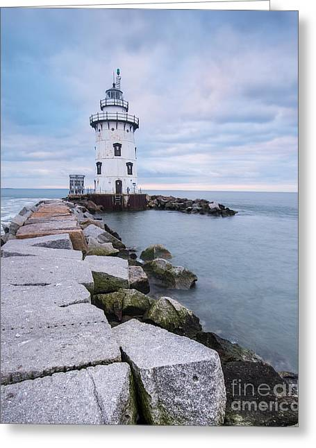 New England Ocean Greeting Cards - New England Lighthouse - Granite and Smith Iron Greeting Card by JG Coleman