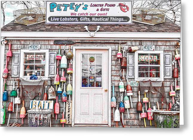Shack Greeting Cards - New England Lobster Pound Greeting Card by Nancy  de Flon