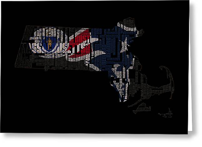 Mayflower Mixed Media Greeting Cards - New England Patriots Typographic Map 03 Greeting Card by Brian Reaves