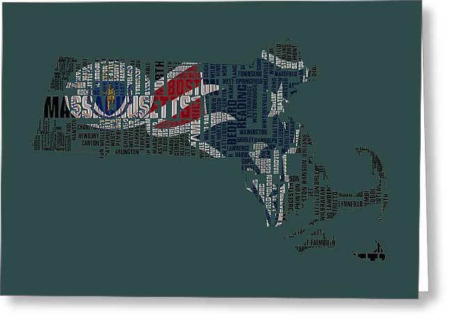 Boston Globe Greeting Cards - New England Patriots Typographic Map Greeting Card by Brian Reaves