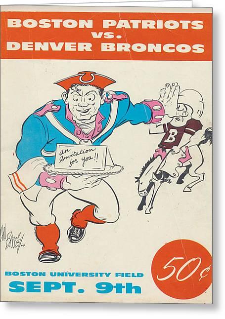 Patriots Greeting Cards - New England Patriots Vintage Program 3 Greeting Card by Joe Hamilton