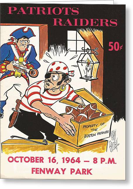 Patriots Greeting Cards - New England Patriots Vintage Program 5 Greeting Card by Joe Hamilton