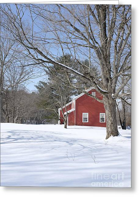 New England Winter Greeting Cards - New England Red House Winter Greeting Card by Edward Fielding