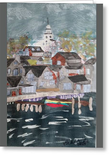 New England Village Greeting Cards - New England Seaside Village Greeting Card by Elizabeth Kilbride