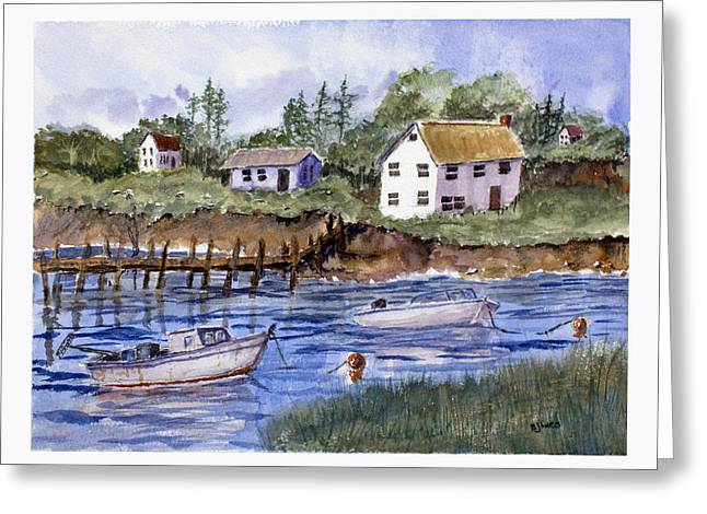 Ledge Drawings Greeting Cards - New England Shore - Marine Art Greeting Card by Barry Jones