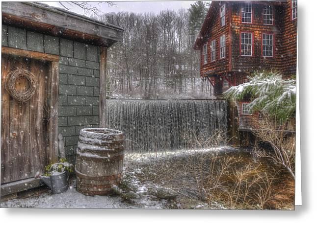 New England Snow Scenes - Frye's Measure Mill - Wilton, Nh Greeting Card by Joann Vitali