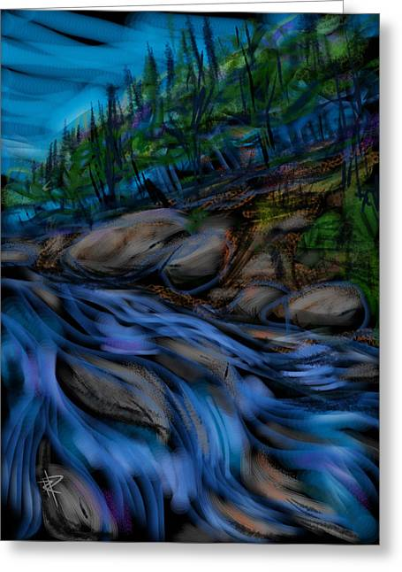 Water Flowing Mixed Media Greeting Cards - New England Stream Greeting Card by Russell Pierce