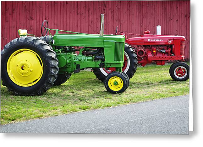 Red Tractors Greeting Cards - New England Tractors Greeting Card by Luke Moore