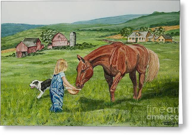 Quarter Horses Paintings Greeting Cards - New Friends Greeting Card by Charlotte Blanchard