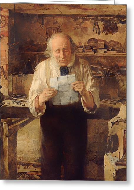 Old Man Reading Greeting Cards - New From My Lad Greeting Card by James Campbell