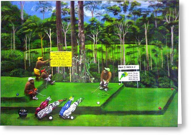 New Golfers In Town 2 Greeting Card by Muyang Kumundan