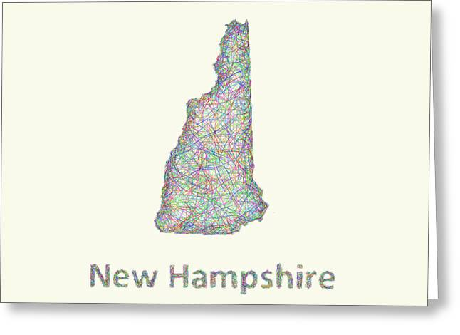 Concord Greeting Cards - New Hampshire line art map Greeting Card by David Zydd
