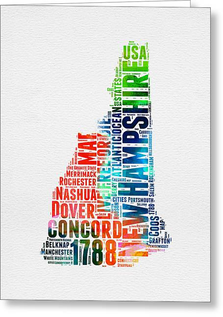 New Hampshire Greeting Cards - New Hampshire Watercolor Word Map Greeting Card by Naxart Studio