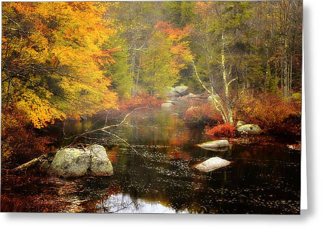 New England Wilderness Greeting Cards - New Hampshire Wilderness-Autumn Scenic Greeting Card by Thomas Schoeller
