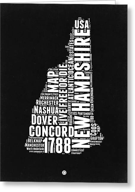 New Hampshire Greeting Cards - New Hampshire Word Cloud Black and white Map Greeting Card by Naxart Studio