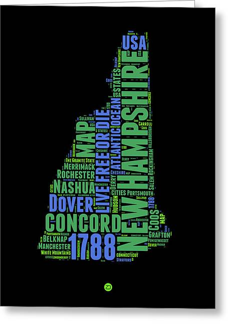 New Hampshire Greeting Cards - New Hampshire Word Cloud Map 1 Greeting Card by Naxart Studio