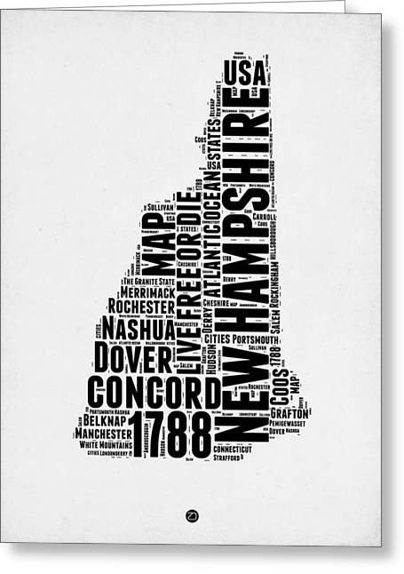 New Hampshire Greeting Cards - New Hampshire Word Cloud Map 2 Greeting Card by Naxart Studio