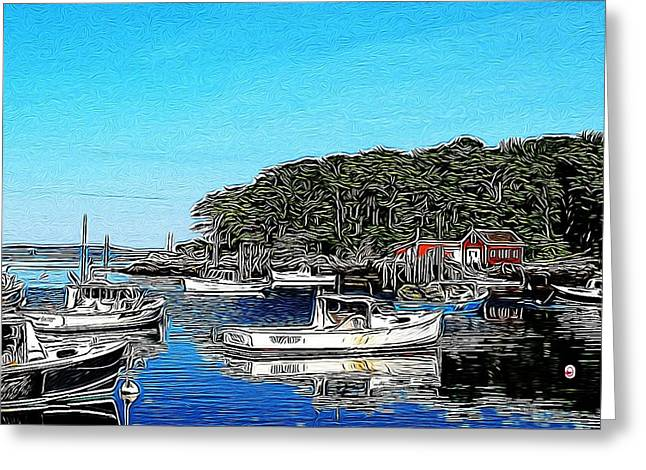 Boats In Harbor Greeting Cards - New Harbor Harbor Greeting Card by Judy Bernier