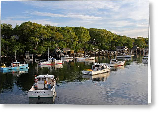 New England Village Greeting Cards - New Harbor Greeting Card by Juergen Roth