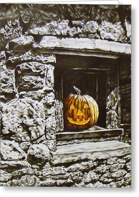 Indiana Autumn Mixed Media Greeting Cards - New Harmony Jack Greeting Card by Michael Lee Summers